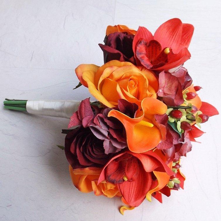 Burgundy & Orange Autumn Silk Brides Bouquet