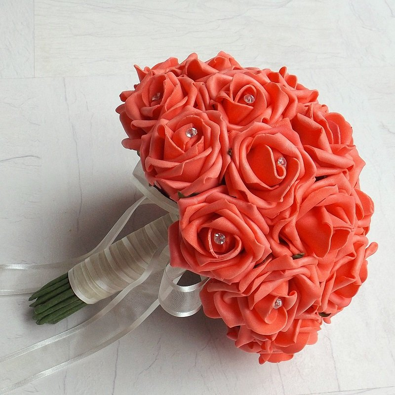 Coral Artificial Rose Handtied Brides Bouquet