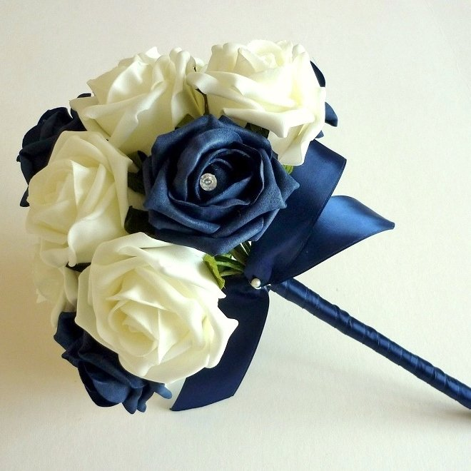 Navy and ivory bridesmaid bouquet
