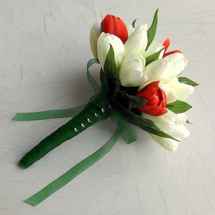 Red, Green, Ivory Silk Tulip Brides Bouquet
