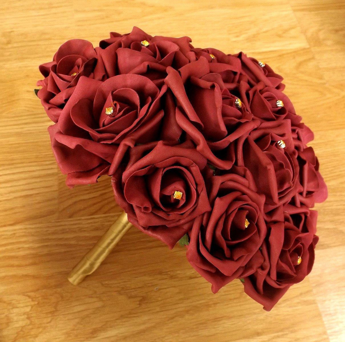 Burgundy & Gold Brides Bouquet