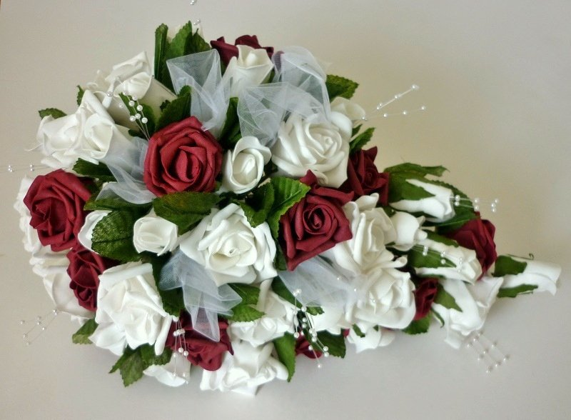 Burgundy & White Pearl Artificial Rose Shower