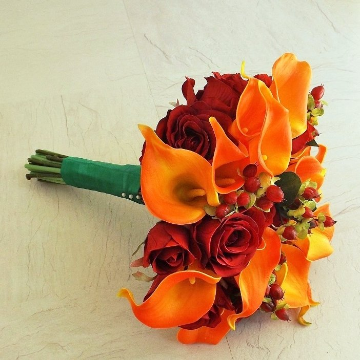 Autumn Red Silk & Orange Calla Brides Bouquet