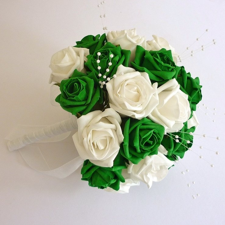 Emerald Green Artificial Pearl Brides Bouquet