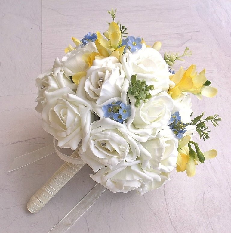 Forget Me Not & Yellow Freesia Brides Bouquet
