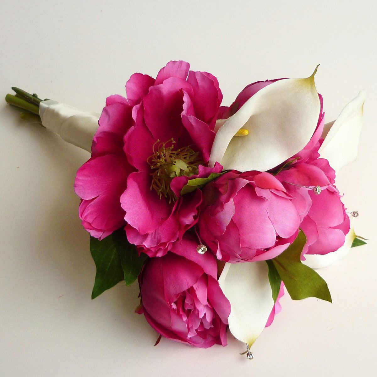 Silk Fuchsia Peony & Calla Brides Bouquet