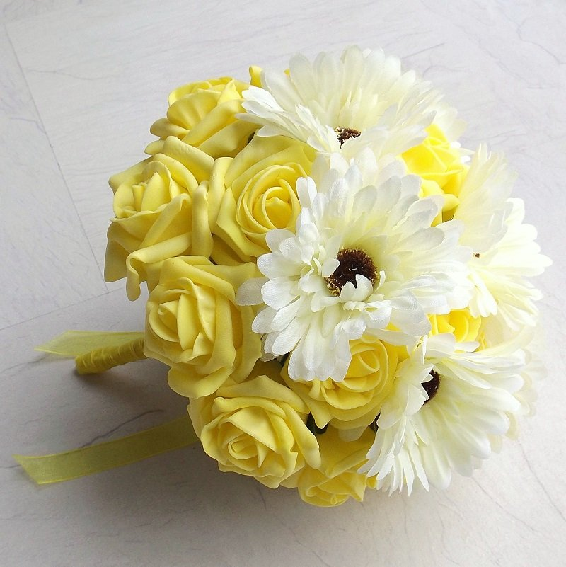 Yellow artificial gerbera brides bouquet