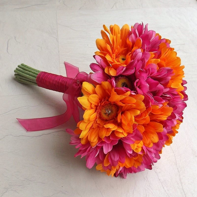 Bright Pink & Orange Gerbera Bouquet