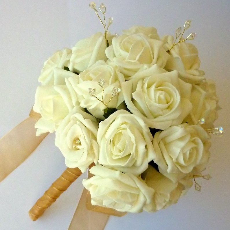 Ivory and Gold Artificial Rose Brides Bouquet