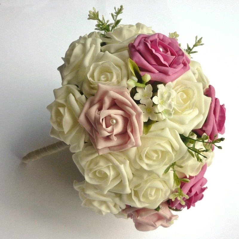 Bright Pink & Light Pink Artificial Pearl Brides Bouquet
