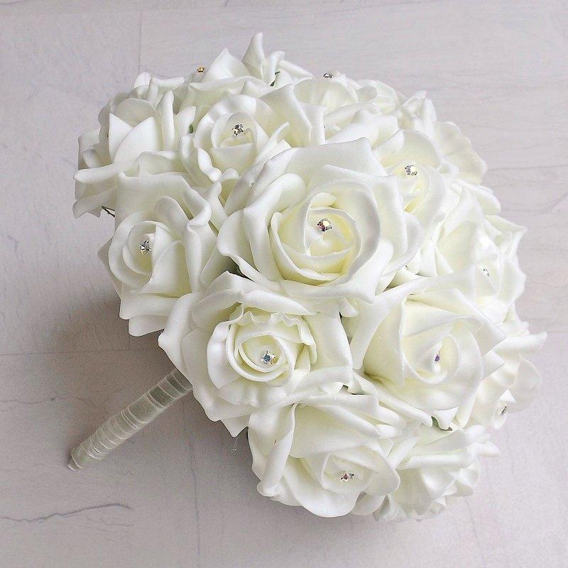 Ivory Diamante Foam Rose Brides Bouquet