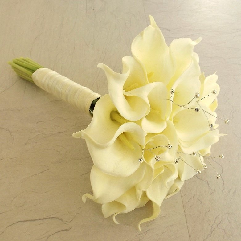Ivory Calla Silk Brides Bouquet