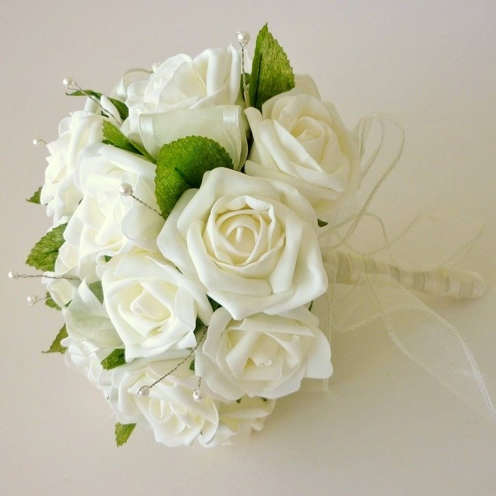 Ivory Artificial Foam Rose Brides Bouquet