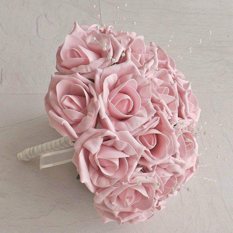 Light Pink Pearl Rose Artificial Brides Bouquet