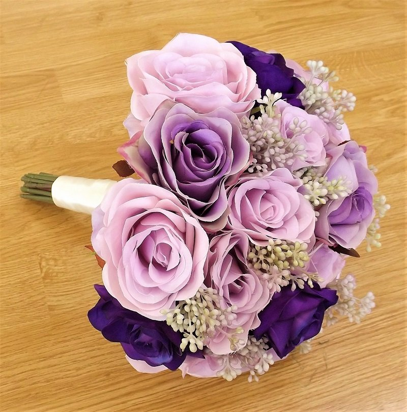 Lilac & Purple Silk Rose Brides Bouquet