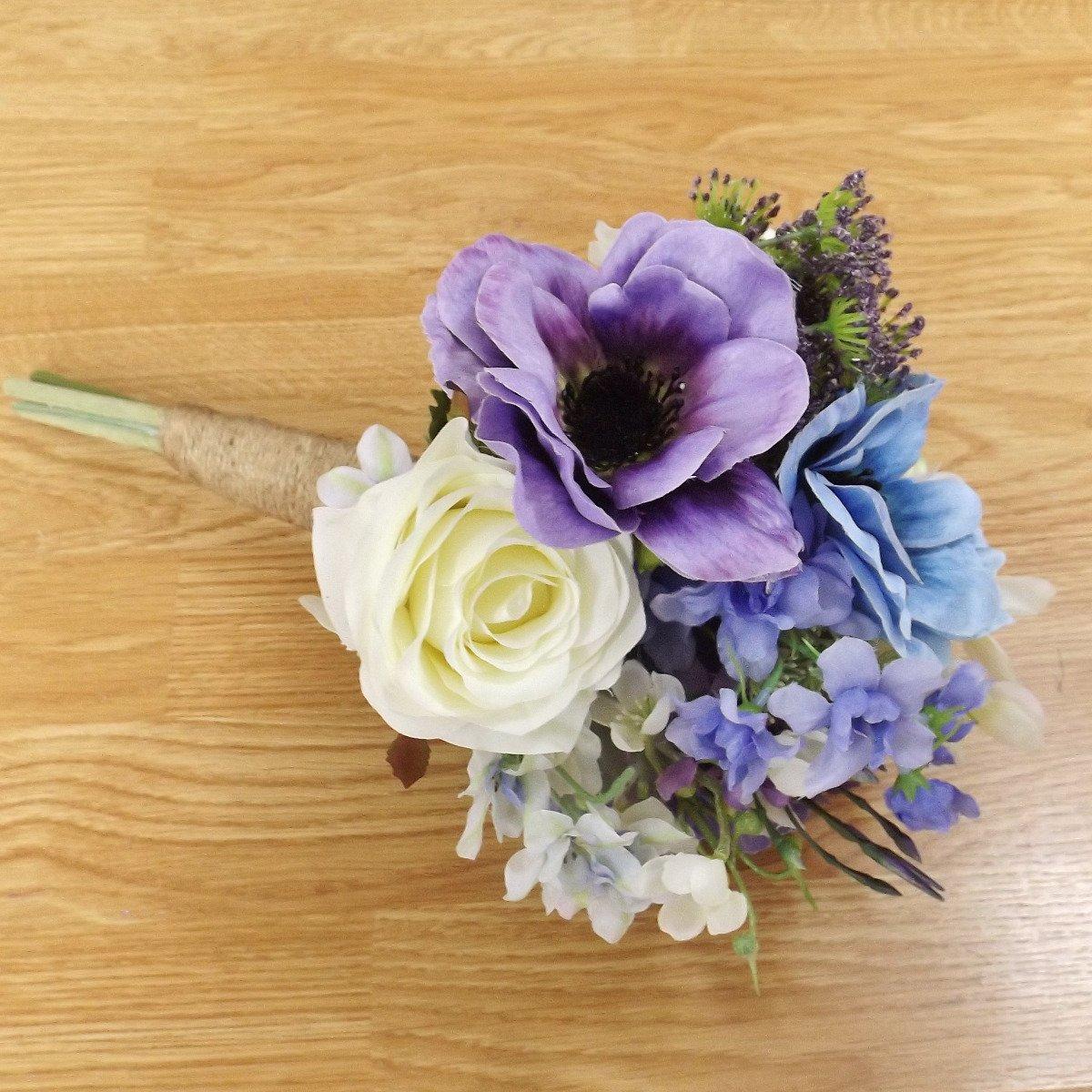 Lilac Blue Wildflower Bridesmaid Bouquet Artificial Wedding Flowers