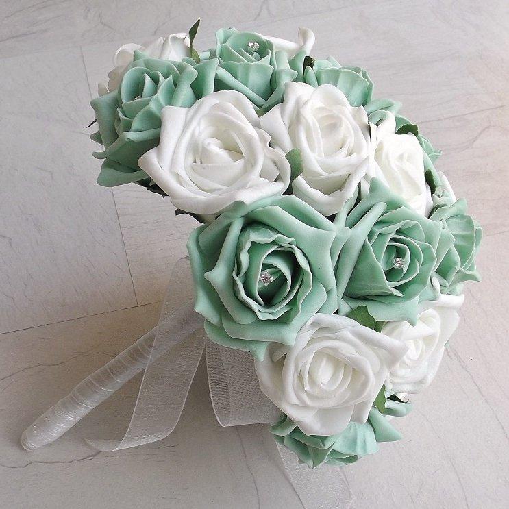 Mint Green & White Artificial Rose Brides Bouquet