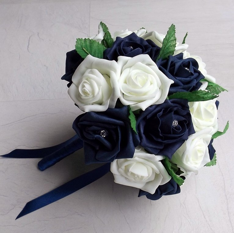 Navy & Ivory Foam Rose Brides Bouquet