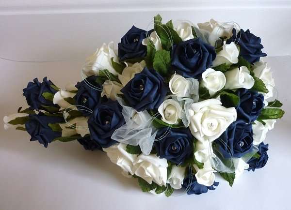 Navy & Ivory Glitter Artificial Rose Shower