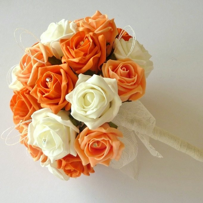 Orange & Apricot Brides Bouquet