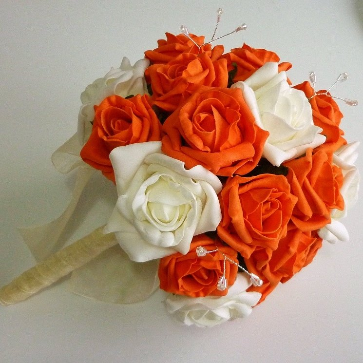 Orange & Ivory Artificial Rose Brides Bouquet