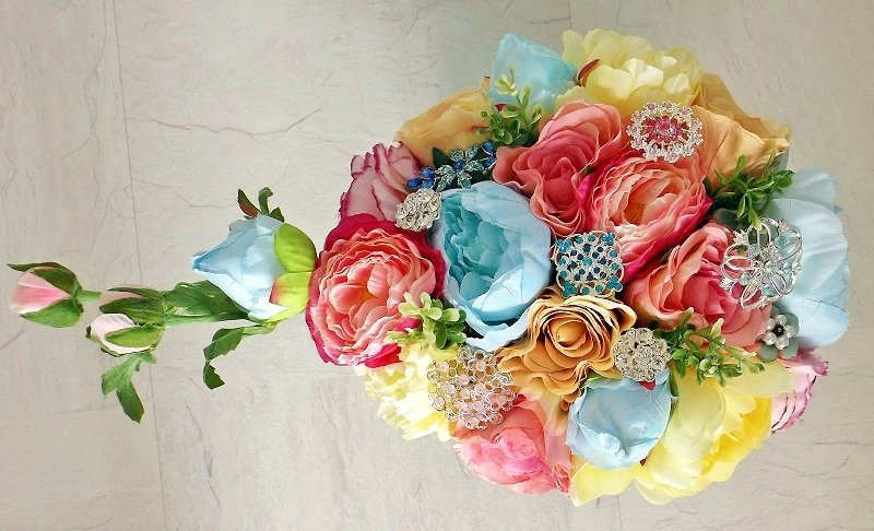 Pastel Silk Flower Brooch Brides Shower