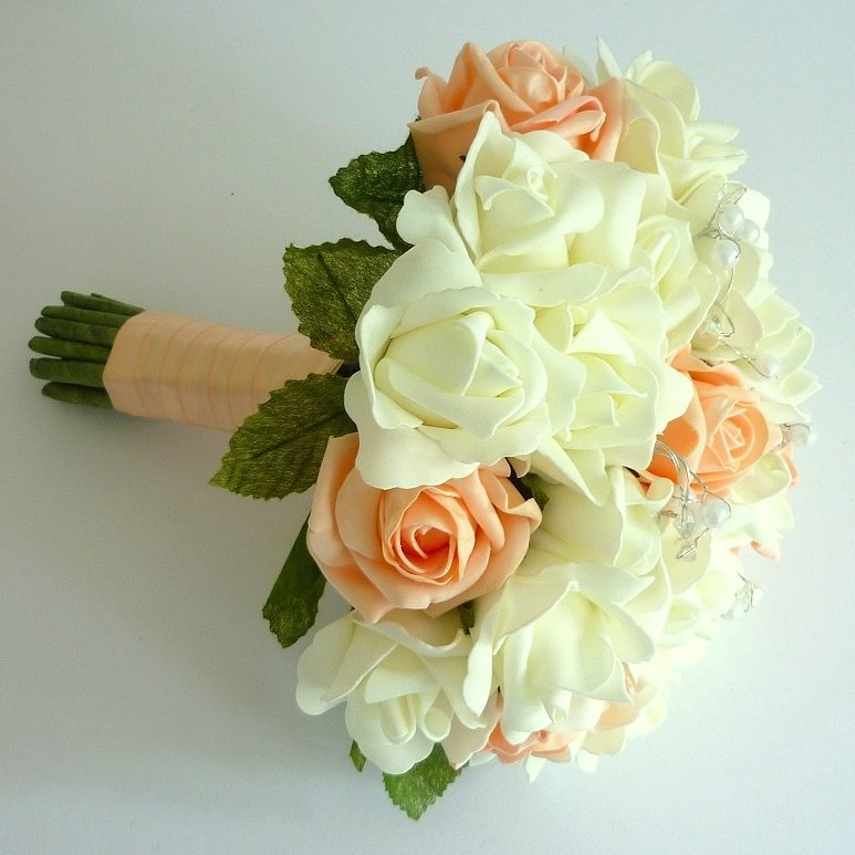 Peach & Ivory Artificial Rose Brides Bouquet