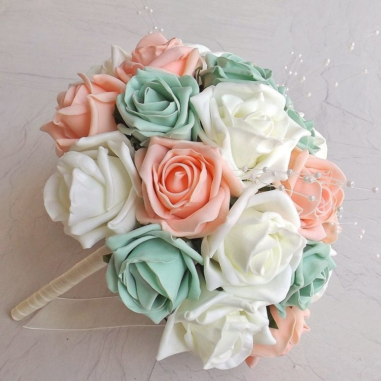 Peach & Mint Green Artificial Brides Bouquet