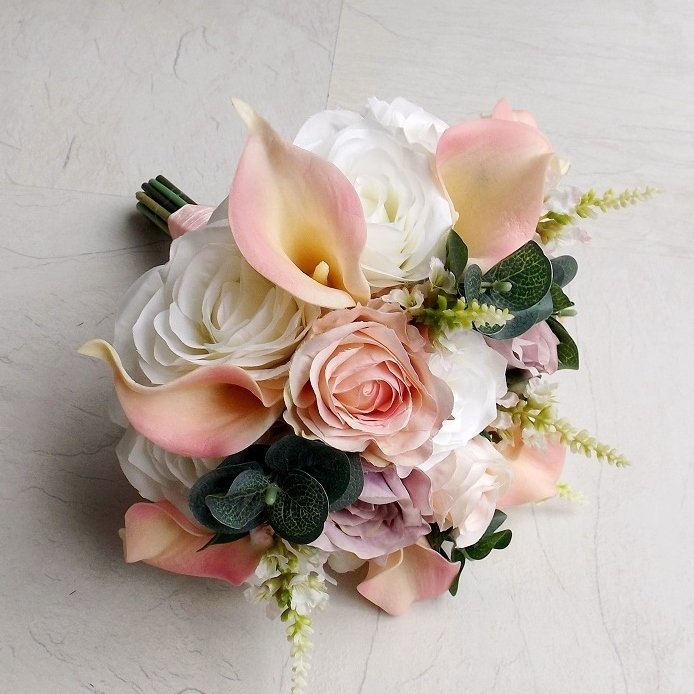 Light Pink & White Silk Brides Bouquet