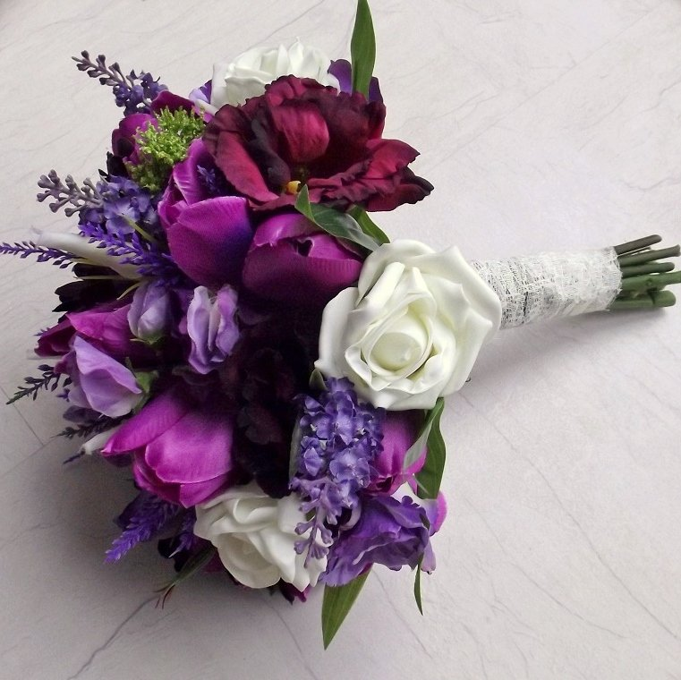 Purple Mixed Silk Tulip Brides Bouquet