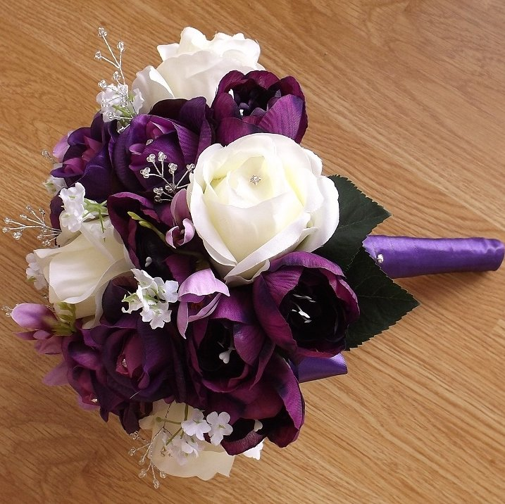Purple & Ivory Silk Tulip Brides Bouquet