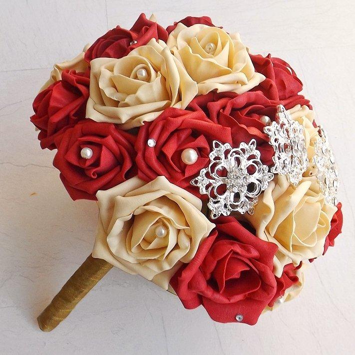 Red & Gold Brooch Brides Bouquet