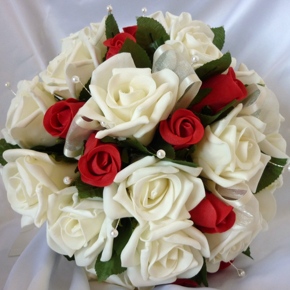Red/Ivory Rose Artificial Brides Bouquet