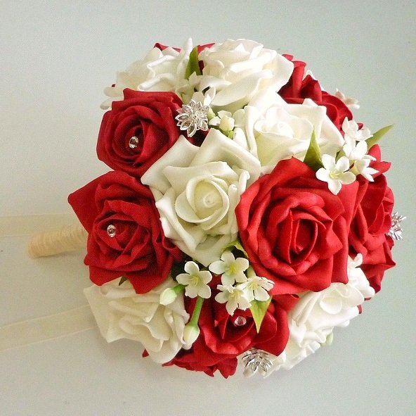 Red and Jasmine Artificial Brides Bouquet