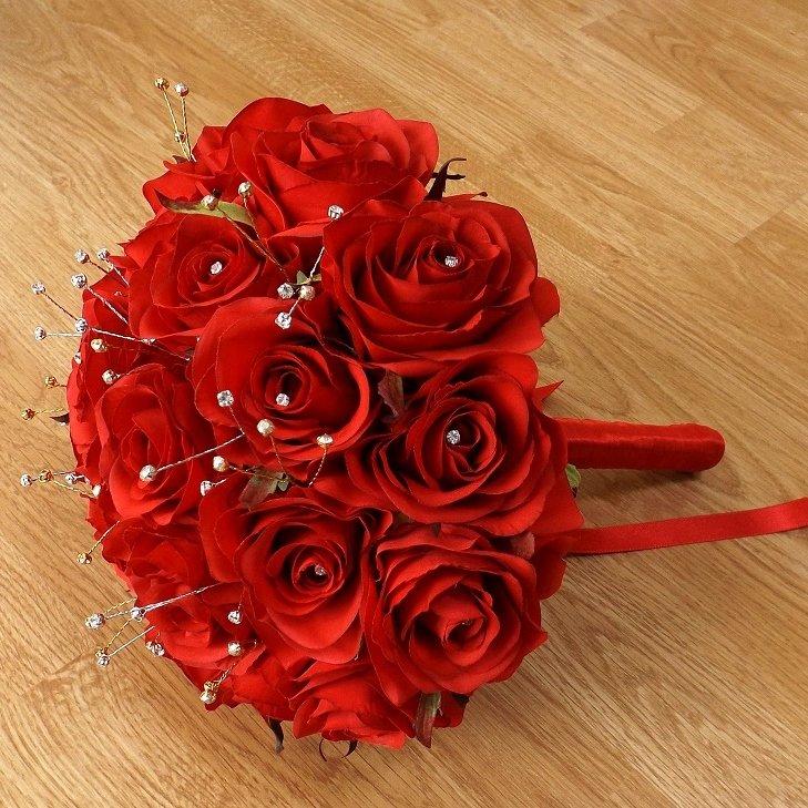 Red Diamante Spray Silk Rose Brides Bouquet