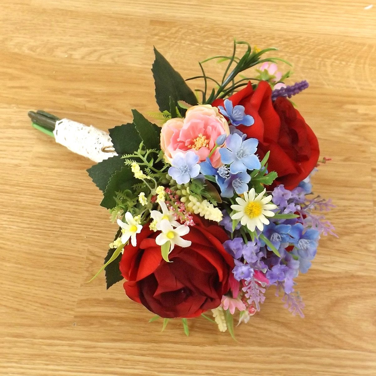 Red Silk Rose Wildflower Bridesmaid Bouquet Artificial Bouquets