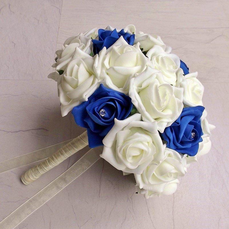 Royal Blue & Ivory Rose Brides Bouquet