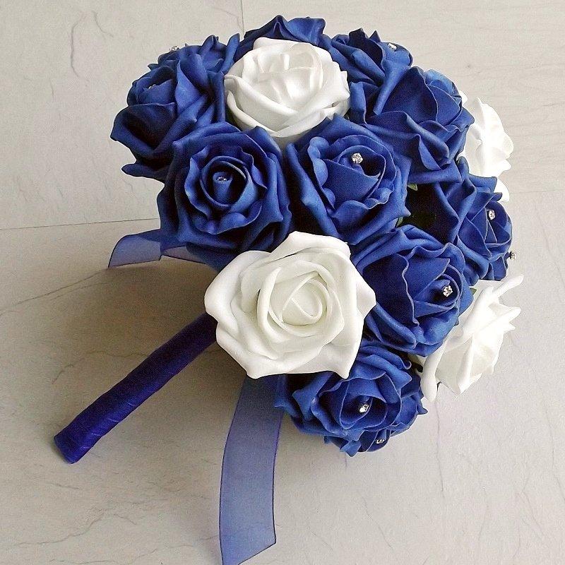 Royal Blue & White Artificial Rose Brides Bouquet