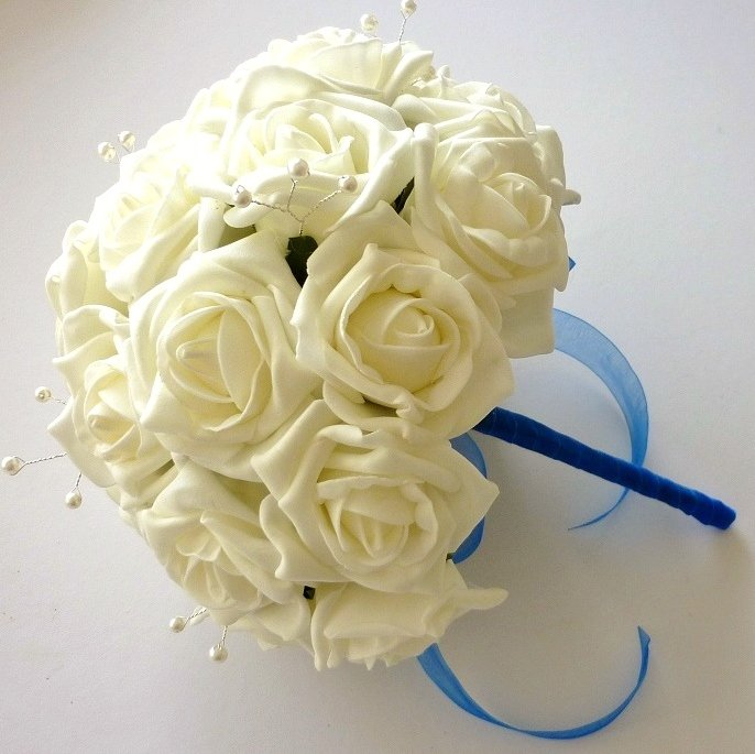 Ivory & Royal Blue Brides Bouquet