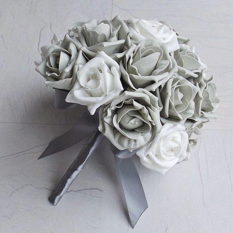 Silver & White Artificial Brides Bouquet