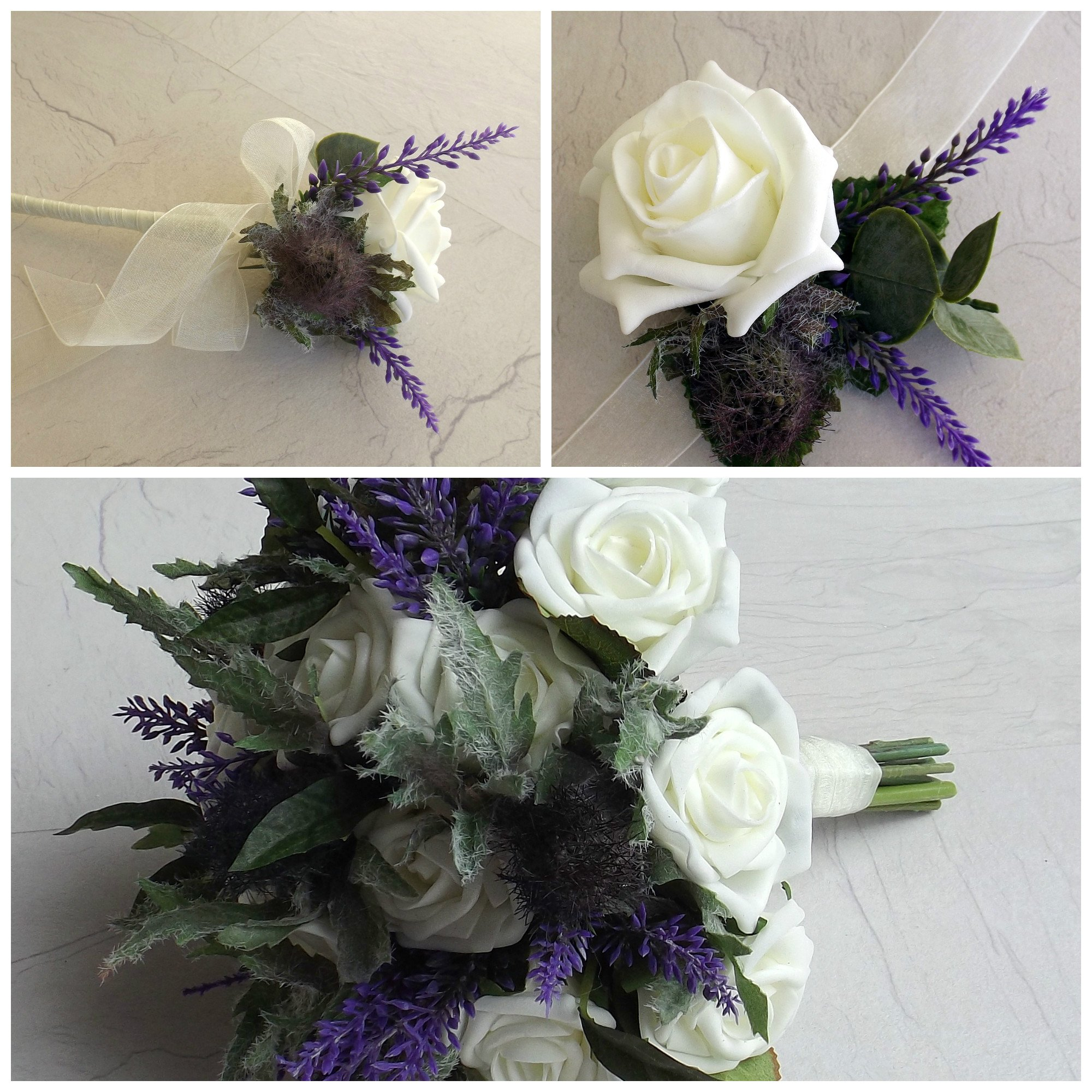 An artificial wedding flower package of thistle, heather and roses