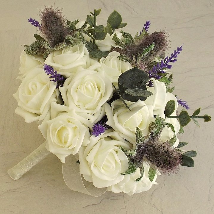 Thistle & Heather & Ivory Rose Brides Bouquet