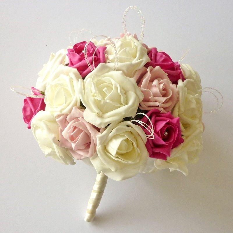 Two Tone Pink Artificial Glitter Brides Bouquet