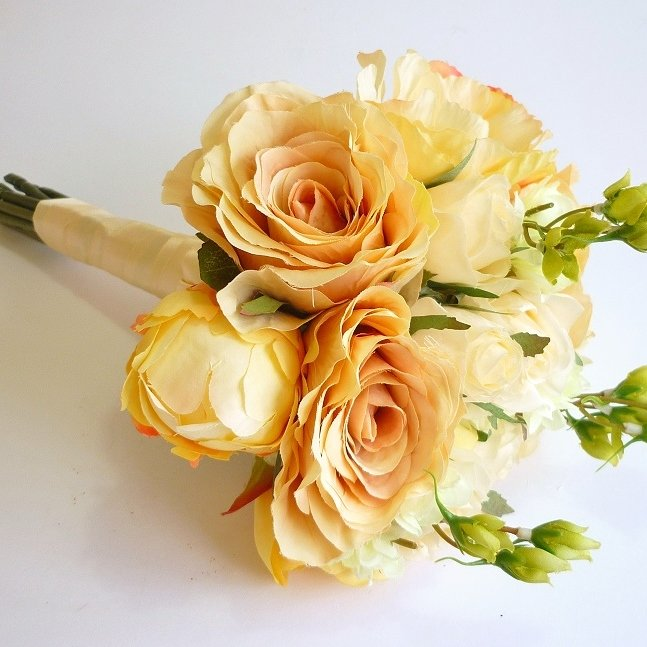 Vintage Peach Rose & Peony Silk Bouquet