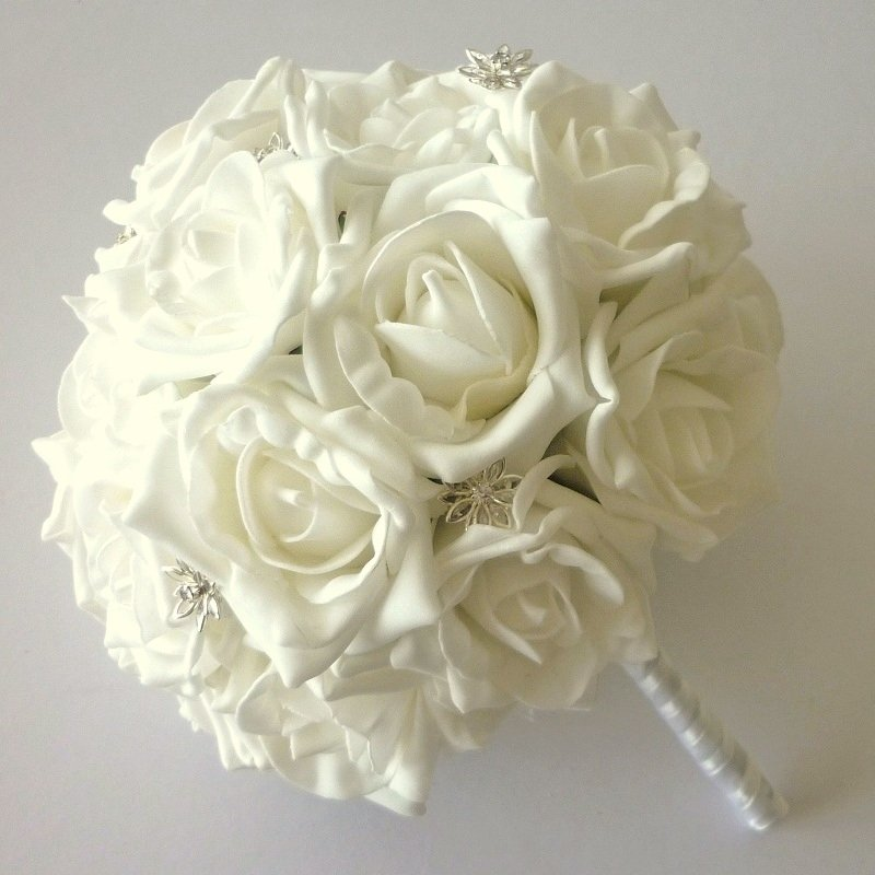 White Artificial Rose Crystal Brides Bouquet