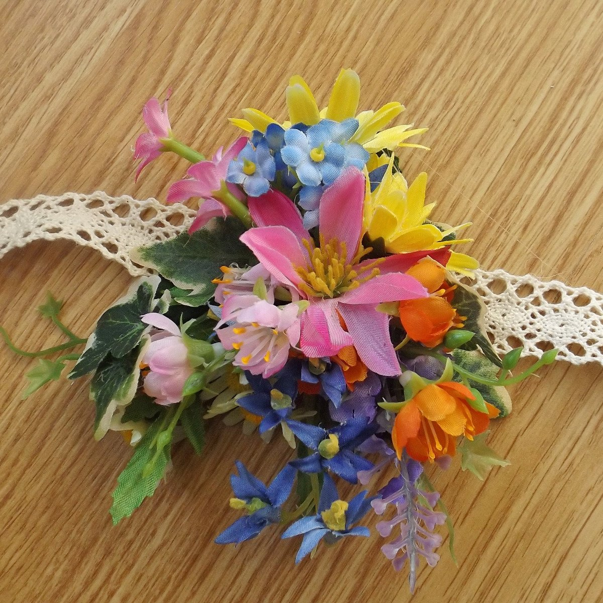 A wildflower silk wrist corsage