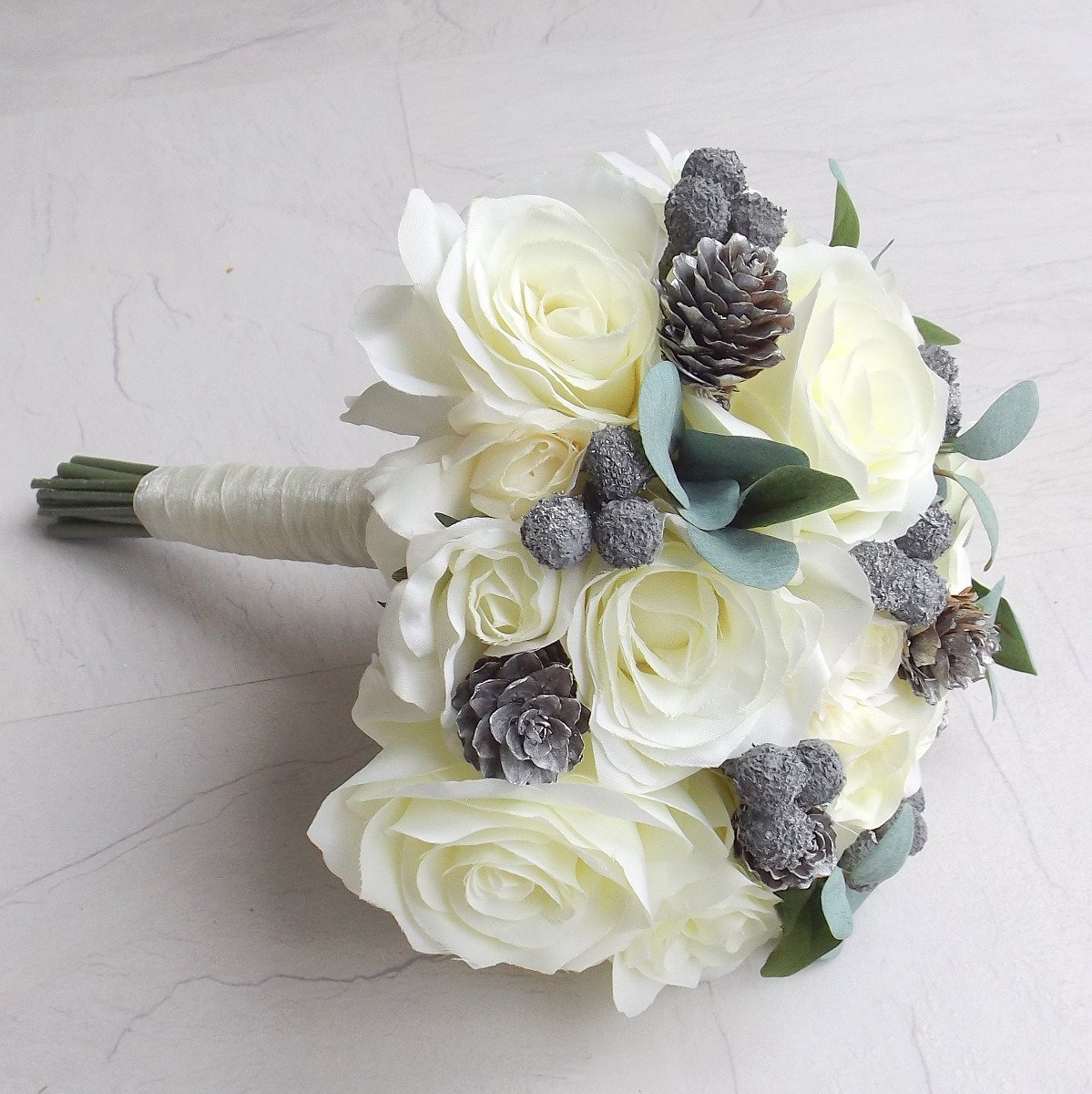 Ivory Silver Berry & Pinecone Brides Bouquet