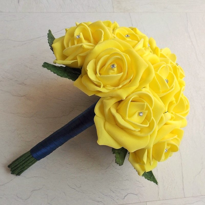 Navy & Yellow Artificial Brides Bouquet