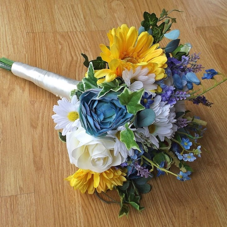 Yellow & Blue Silk Wild Flower Brides Bouquet